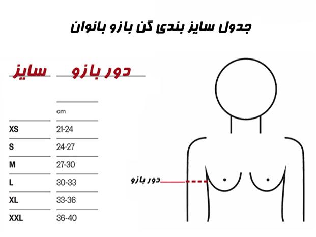 جدول سایزبندی گن بازو آرافیکس