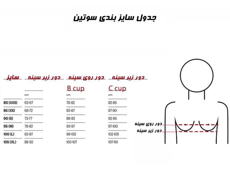 جدول سایزبندی سوتین آرافیکس