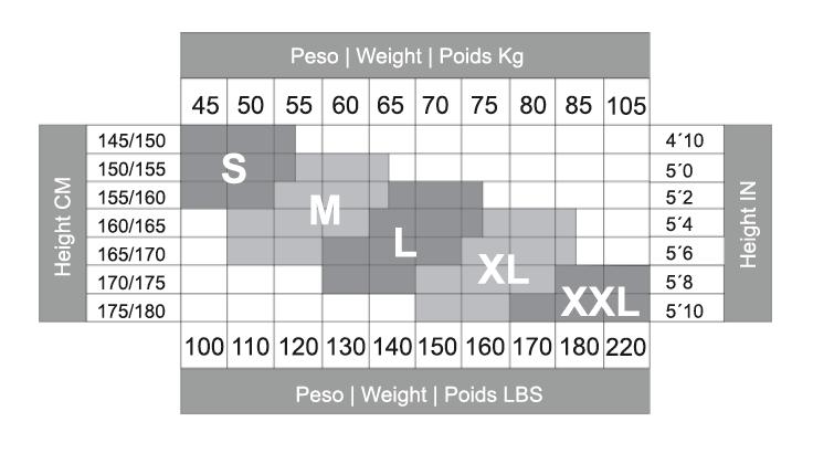 جدول سایزبندی جوراب آمبولی